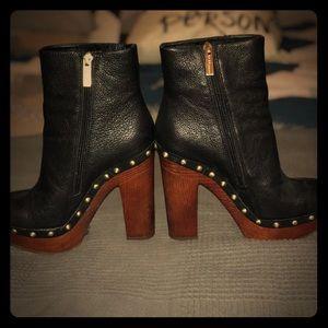 BCBG leather platform over ankle boots size 6